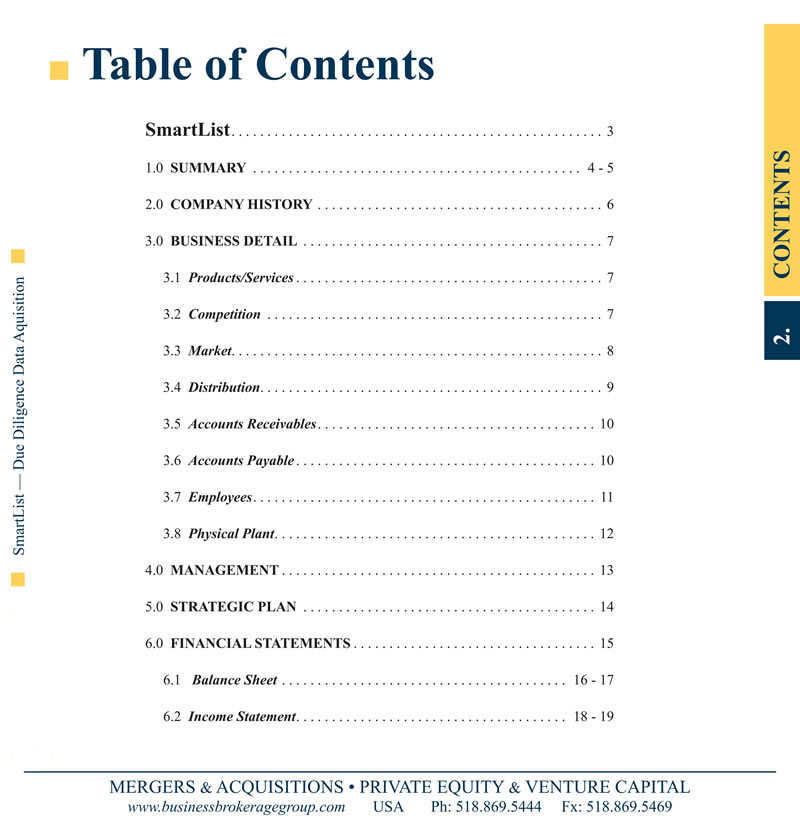 BBG SmartList Table of Contents